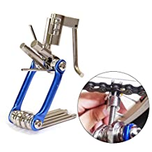 So-myshtech 11 in 1 Multi-Function Bicycle Mountain Road Bike Repair Tool Kit Cycling Tire Mechanic Tools Sets Mini Portable Hex Wrench Screwdriver Chain Cutter (Blue)