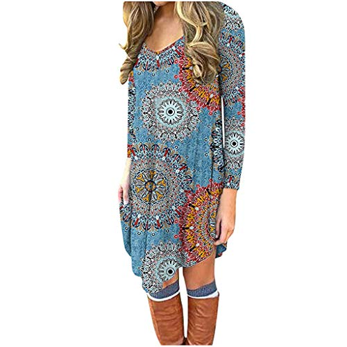 Lazapa Boho Dresses for Women, Long Sleeve Crewneck Floral Dress Fashion Loose Casual Shift Dress Fall Winter Daily Wild Ethnic Style Tunic Dress