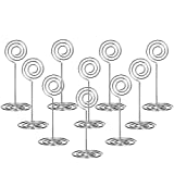 Anpatio Place Card Holders Wedding Table Name Number Display Stands Silver Spiral Tall Wire Picture Photo Note Menu Memo Clips for Party Centerpieces 24pcs