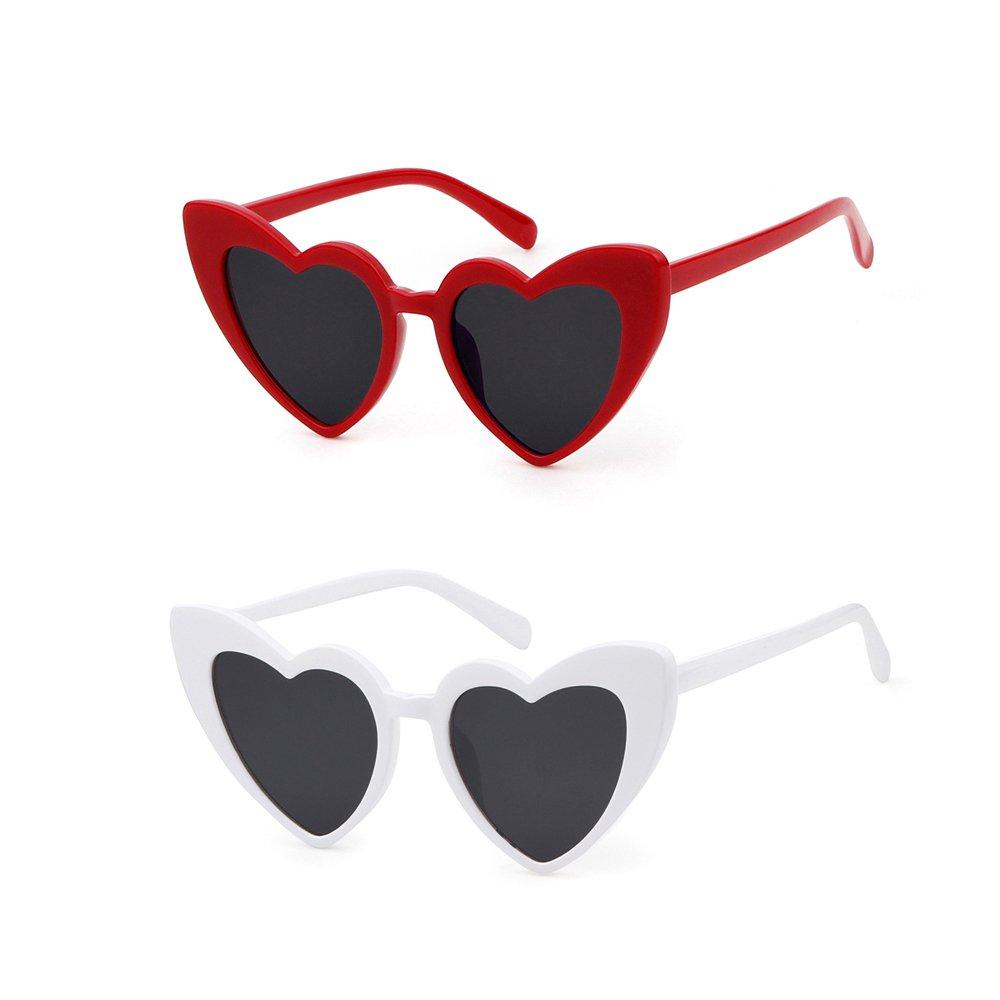 Love Heart Shaped Sunglasses Women Vintage Cat Eye Mod Style Retro Glasses (redwhite, 53)