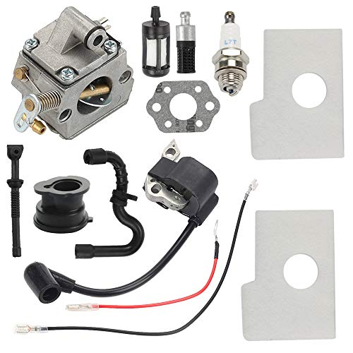 Hayskill MS170 Carburetor with Ignition Coil Air Fuel Filter Tune Up Kit for Stihl 017 018 MS180 MS180C MS170C Chainsaw Carb Replace C1Q-S57A C1Q-S57B 1130 120 0603 (Stihl Chainsaw 180c)