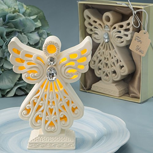 (Gifts by Fashion Craft Crafted Resin Glowing Angel Statue Figurine with LED Light, 4 1/2 Inch)
