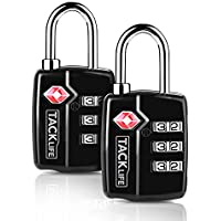 2-Pack Tacklife HCL3A TSA-Approved 3-Digit Combination Luggage Lock Steel Padlocks