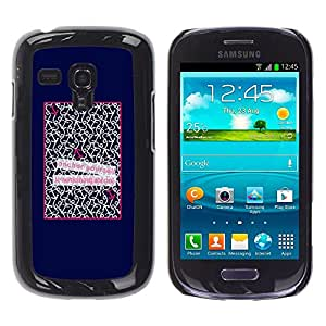 Caucho caso de Shell duro de la cubierta de accesorios de protección BY RAYDREAMMM - Samsung Galaxy S3 MINI NOT REGULAR! I8190 I8190N - Patter Quote Love Poster Text