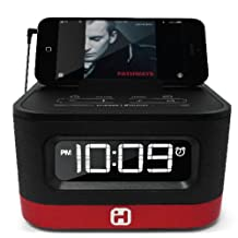 iHome Space Saver FM Stereo Alarm Clock Radio with USB Charging, Red (iHM50R)