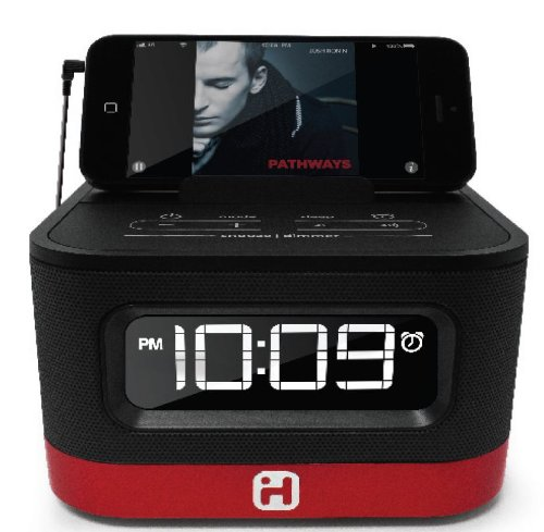 iHome Space Saver FM Stereo Alarm Clock Radio with USB Charging (iHM50R)