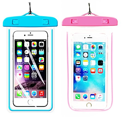 [1Pack Blue+1Pack Pink] Universal Waterproof Phone Case Dry Bag CaseHQ for iPhone 7,7plus,8,8plus,6/6s/6plus/6splus Samsung Galaxy s7 s8 s8plus,s6 etc. Snow Proof Pouch for Phone up to 5.8 inches