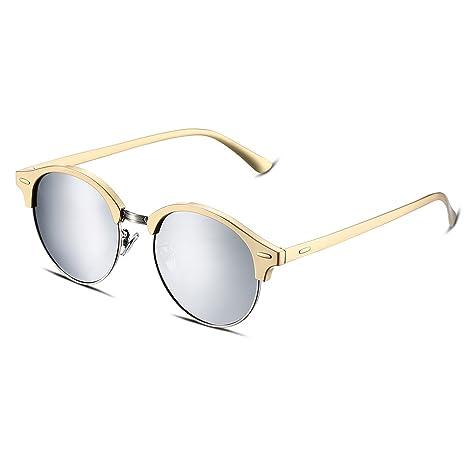 Gafas de sol de espejo Nykkola para mujer con lentes polarizadas y monturas de metal, gafas con estampado ojo de gato