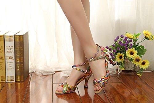 Minitoo GL255 Printed Cross Strap Satin Designer Dancing Shoes Wedding Sandals For Female Multicolor-7.5cm Heel 2FZutj50Sx