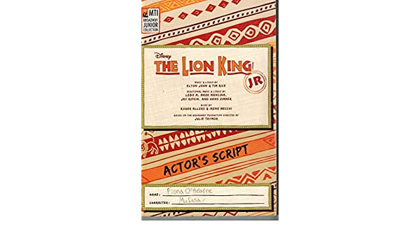 MTI The Lion King Jr  Actor's Script Broadway Junior Collections