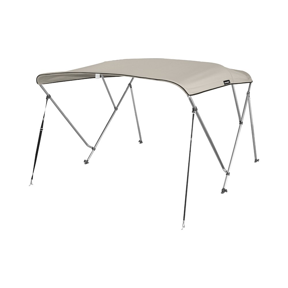MSC 3 Bow Bimini Boat Top Cover with Rear Support Pole and Storage Boot, Color Grey, Pacific Blue, Burgundy,Navy,Beige,Forest Green Available (Beige, 3 Bow 6'L x 46'' H x 73''-78'' W) by MSC