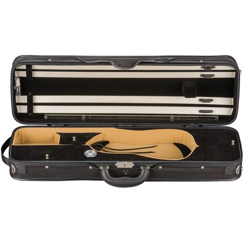 Embassy Courier Violin Case Black Exterior Black Interior 4/4 Size - Padded Tour Pouch