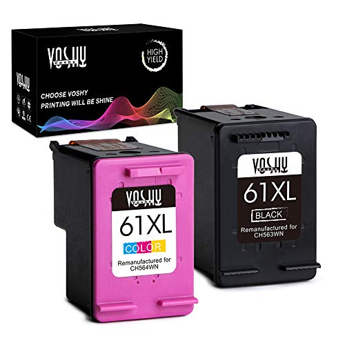 Voshy Remanufactured Ink Cartridge Replacement for HP 61 61XL Work with Envy 4500 5530 4502 5534 5534 Officejet 4630 4635 Deskjet 1000 2540 1010 Printer (Black and Tri-Color, 2-Pack, XL Volume)