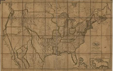 Amazoncom 1819 Map Of The United States Of America With The - Us-map-1819