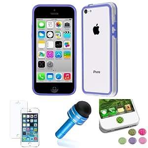 Azul marco TPU Gel caso + polvo pluma + mate + Sticker para Apple iPhone 5C