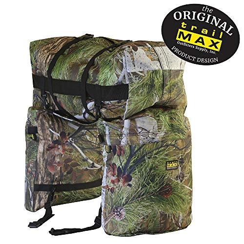 TrailMax Original Saddlebags for Horse Trail Riding with Detachable Cantle Bag, 600-denier Machine Washable, Weather/UV Resistant PVC-Backed Polyester, North Fork Camo