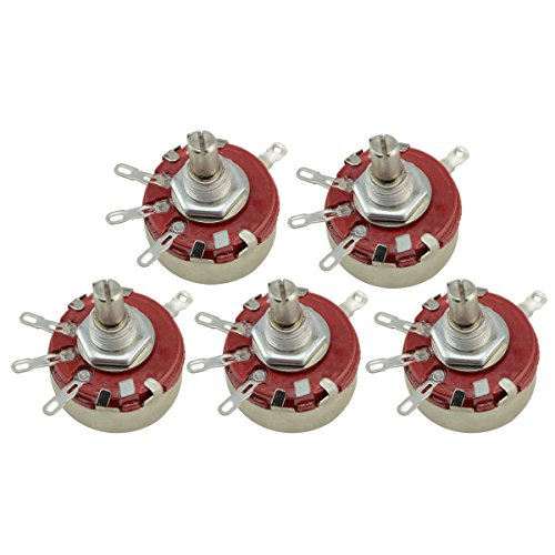 WTH118 470K ohm 2W Rotary Potentiometer 4-Pin 6mm Round Shaft Carbon Wire Wound Linear Variable 5pcs