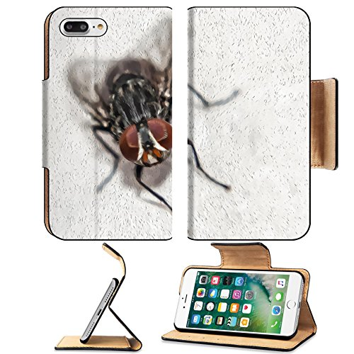 Luxlady Premium Apple iPhone 7 Plus Flip Pu Leather Wallet Case iPhone7 Plus 25126393 Portrait art of common house fly You can see the details with a touch paint oil