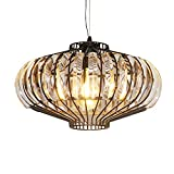 INJUICY Morden Pumpkin Pendant Lights, Crystal Hanging Ceiling Lamps Fixtures for Cafe, Bar, Dining Room, Bedrooms