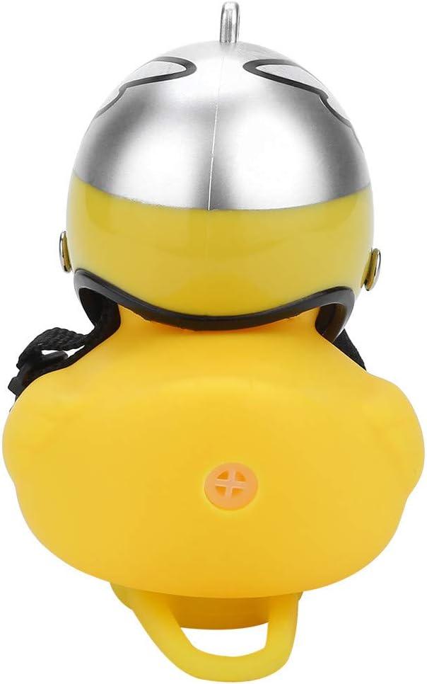Weisfe78 Bike Horn Lights,Rubber Duck Shape Squeeze Horns Helmet Handlebar Bell Light Bicycle Lamp for Toddler Children Adults Kids Cycling Toys Light E