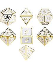 7 Die Metal Polyhedral Dice Set DND Rollenspel Game Dice Set met Opbergtas voor RPG Dungeons and Dragons DD Math Teaching (Golden White) (Golden White)