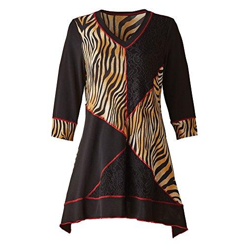 CATALOG CLASSICS Women's Tunic Top - Animal Instinct Tiger Print 3/4 Sleeve Blouse - 1X