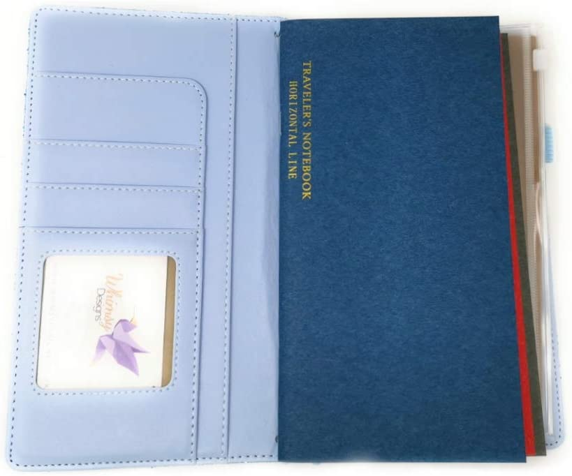 and Extra Pockets Blue Holographic Zip Pouch Glitter Traveler/'s Notebook Standard Size with Inserts Pen Loop Kraft Folder Business Card Holder