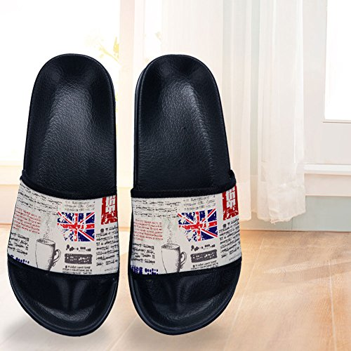 for Vintage Old Slip Slippers Paper Womens Pattern Slippers Slippers Drying Quick Black Non SdqvvcTW