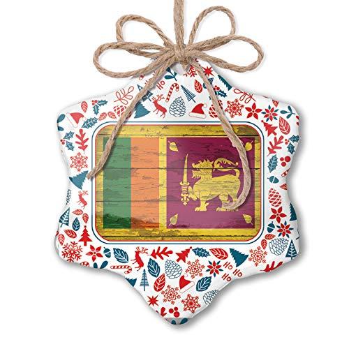 NEONBLOND Christmas Ornament Flag on Wood Sri Lanka Red White Blue Xmas
