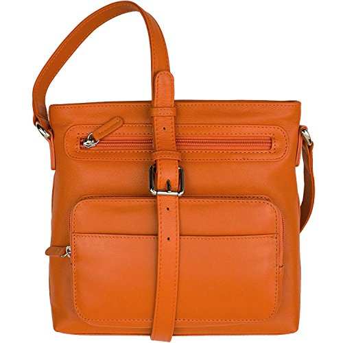 Leather Organizer body Handbag Cross Orange rrH0fqw