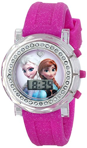 - Disney Kids' FZN3580 Frozen Anna and Elsa Flashing-Dial Watch with Glitter Pink Rubber Band