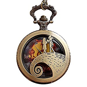 Casual Nightmare Before Christmas Pocket Watch Hollow Steampunk Necklace Watch Unisex Gifts Reloj de bolsillo