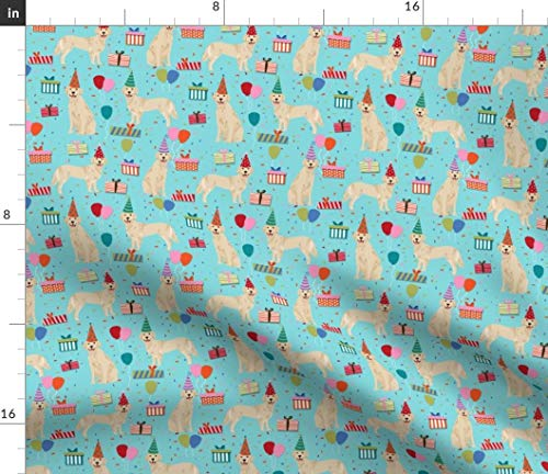 Spoonflower Blue Xmas Golden Retriever Fabric - Retreiver Birthday Dog Dogs Party Cute Pet Portrait Gift Fabric Print on Fabric by The Yard - Minky for Sewing Baby Blankets Quilt -