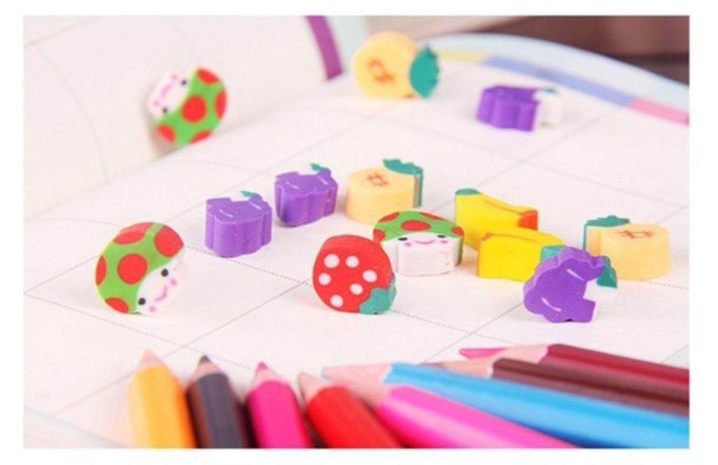 100pcs New Novelty Students Children Lovely Colorful Fruit Pencil Rubber Eraser kids Gifts Wholesale and Retail by PPL21 (Image #6)