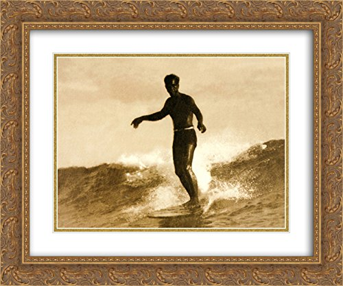 Waikiki, 1931 2X Matted 15x18 Gold Ornate Framed Art Print by Tom Blake
