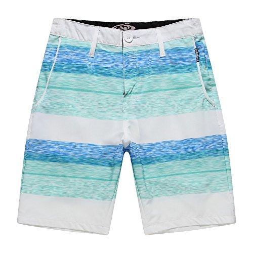 Men's Beach Wear Board Shorts with Pocket in White Blue Wave Stripes (Palm Beach Stripe)