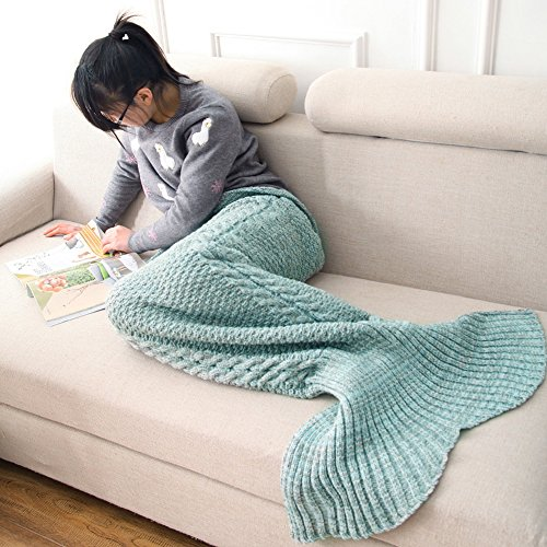 (Tian Guan Gifts for Women, Fish Scale Pattern and Tassel Mermaid Tail Blanket Sofa Blanket Knitting Warm Soft and All Seasons Sleeping Bag (Green))