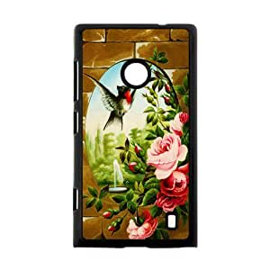 Fashion Design Bird and Roses Background Case Cover for Nokia Lumia 520- Personalized Hard Cell Phone Back Protective Case Shell-Perfect as gift
