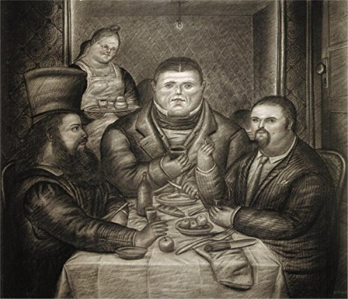 Wall Art Impressions Quality Prints - Laminated 25x21 Vibrant Durable Photo Poster - Dinner with Ingres and Piero Della Francesca, 1968 - Fernando Botero
