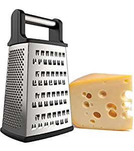 iCooker Cheese Grater [Stainless Steel] 4 Sided Box Grater - Premium Quality Zester for Vegetables, Fruits, Ginger, Chocolate & Nuts - Best Slicer With Sharp Blades [Black Handle]