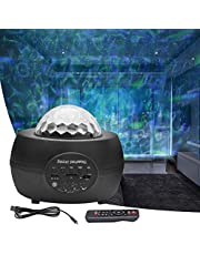 FantasyAttics LED Night Light Projector - 3 in 1 Galaxy Star Projector Skylight Ocean Wave and Water Wave Children's Night Light,Built-in Bluetooth Speaker - Remote Control for Living Room,Bedroom