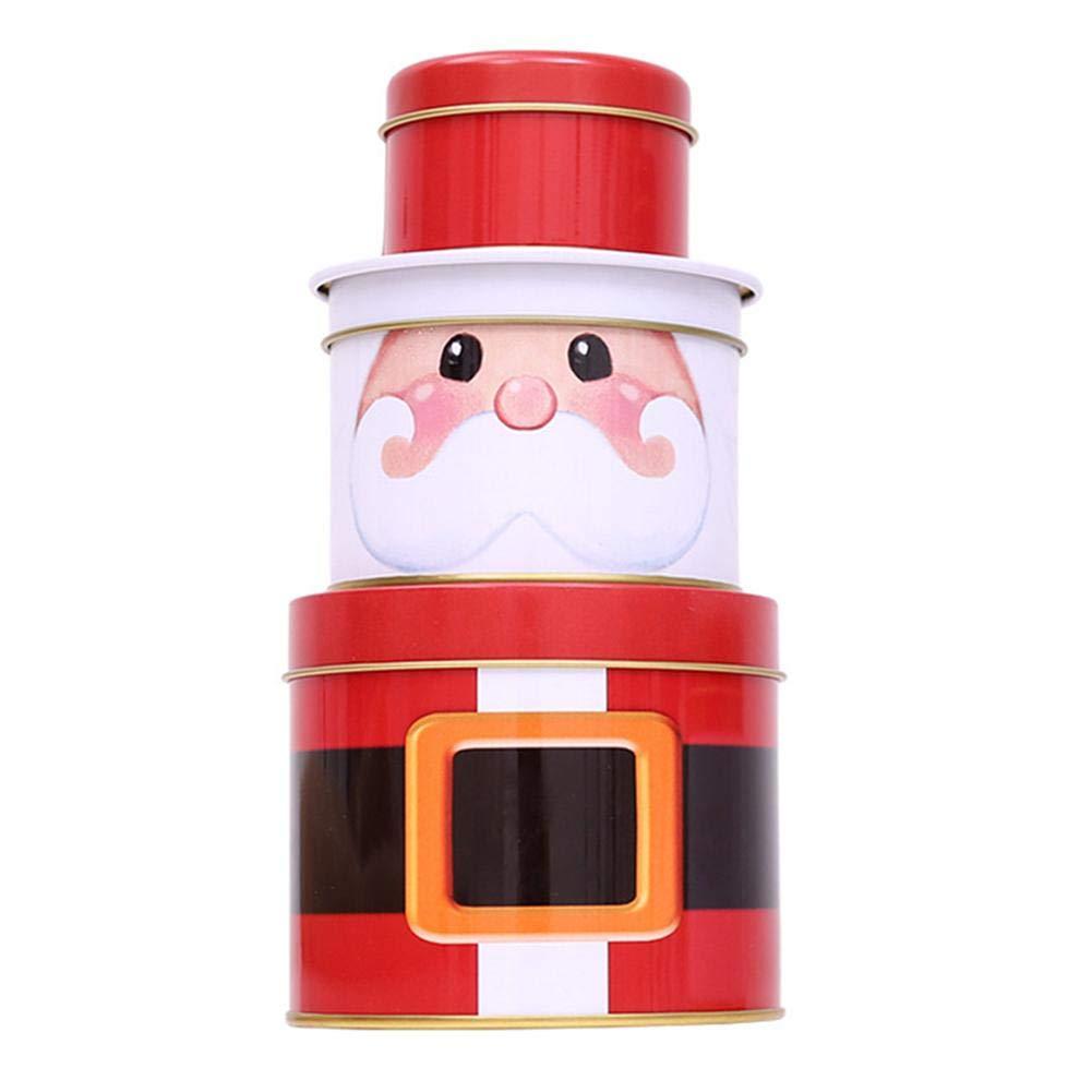 Leo565Tom - Caja para Dulces de Navidad de Tres Capas, Caja de Hierro de Papá Noel y muñeco de Nieve, Caja de Regalo con Forma de Papá Noel o muñeco de Nieve