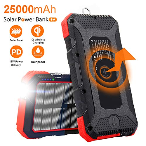 Solar Charger 25000mAh Sendowtek 10W Qi Wireless Portable Solar Power Bank 18W PD Phone Charger High-speed 4 Outputs & Dual Inputs Huge Capacity Backup Battery Flashlight Rainproof for Outdoor Camping (Best Solar Power Charger)