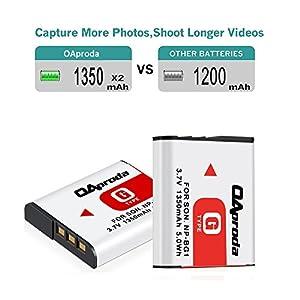 OAproda NP-BG1 Battery (2 Pack) & Smart LCD USB Charger for Sony Cyber-shot NP-FG1, DSC-H10, H50, H70, DSC-N2,N1, DSC-T100, T20, DSC-W150, W120, W290, WX1, WX10 and moer Sony W Series Digital Cameras by OAproda