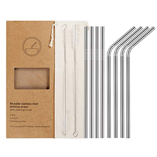 YIHONG Set of 8 Reusable Stainless Steel Metal Straws Ultra Long 105 Inch Regular Size 6 mm Wide