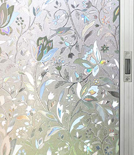 "Artviva Tulip Window Film,Decorative Vinyl Film for Window Privacy/Insulation/Glare Control,Great Choice for Bathroom/Kitchen/Office Window&Door Glass,Static Cling Film 17.7""x78.7"""