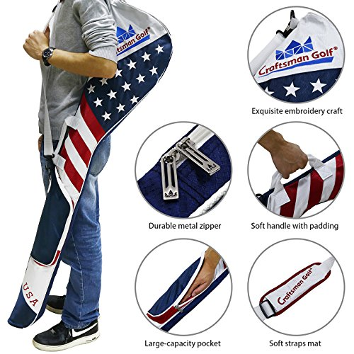 Craftsman Golf Stars and Stripes American USA US Flag Club Case Sunday Bag Red White Blue For 6-7 Clubs 49'' by Craftsman Golf (Image #4)