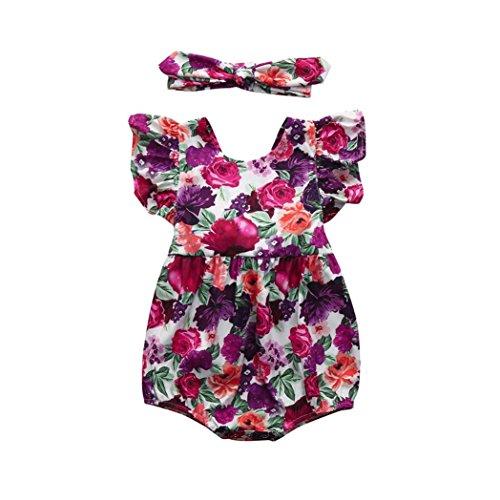 Goodlock Newborn Infant Fashion Clothes Set Baby Girls Floral Ruffles Romper Jumpsuit Sunsuit Outfits Clothes (Pink Sunsuit)