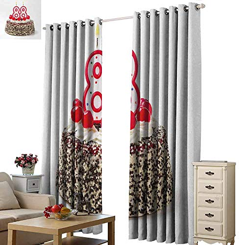 Homrkey Kids Room Curtains 88th Birthday Happy Old Years Greeting Cake with Cherries Candle Yummy Image Artwork Print Blackout Draperies for Bedroom Living Room W96 xL84 Multicolor