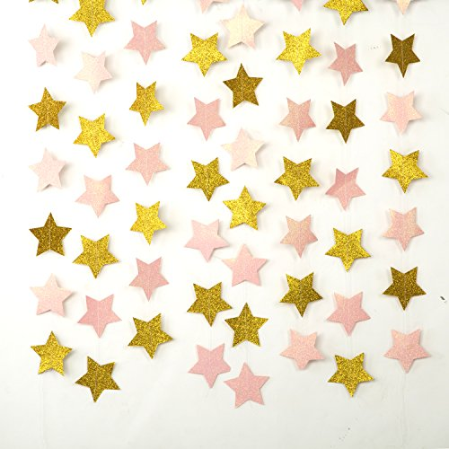 MOWO Paper Garland Twinkle Star Pink and Gold Glitter 3'' Circle Decoration 2pc 20 feet in Total - Circle Dot Star